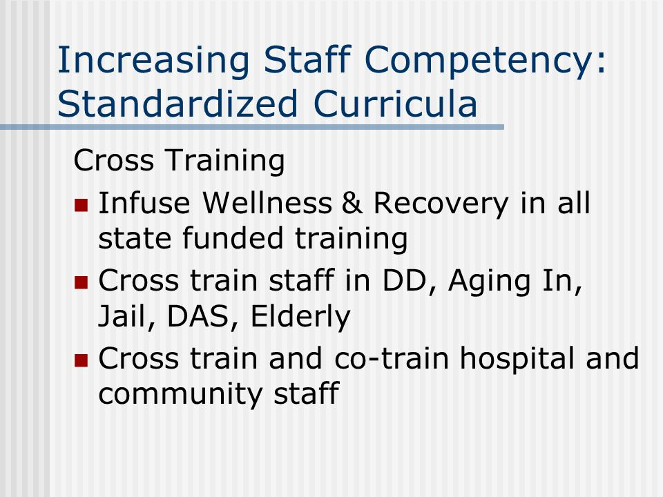 Increasing Staff Competency: Standardized Curricula