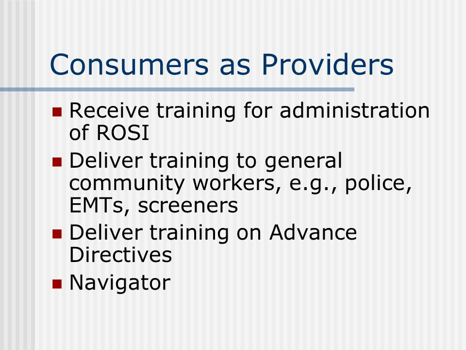 Consumers as Providers