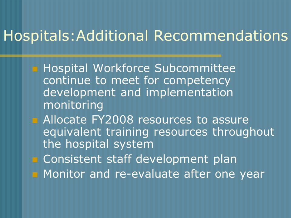 Hospitals:Additional Recommendations