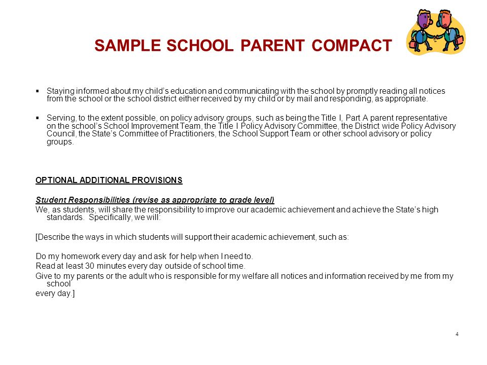 SAMPLE SCHOOL PARENT COMPACT
