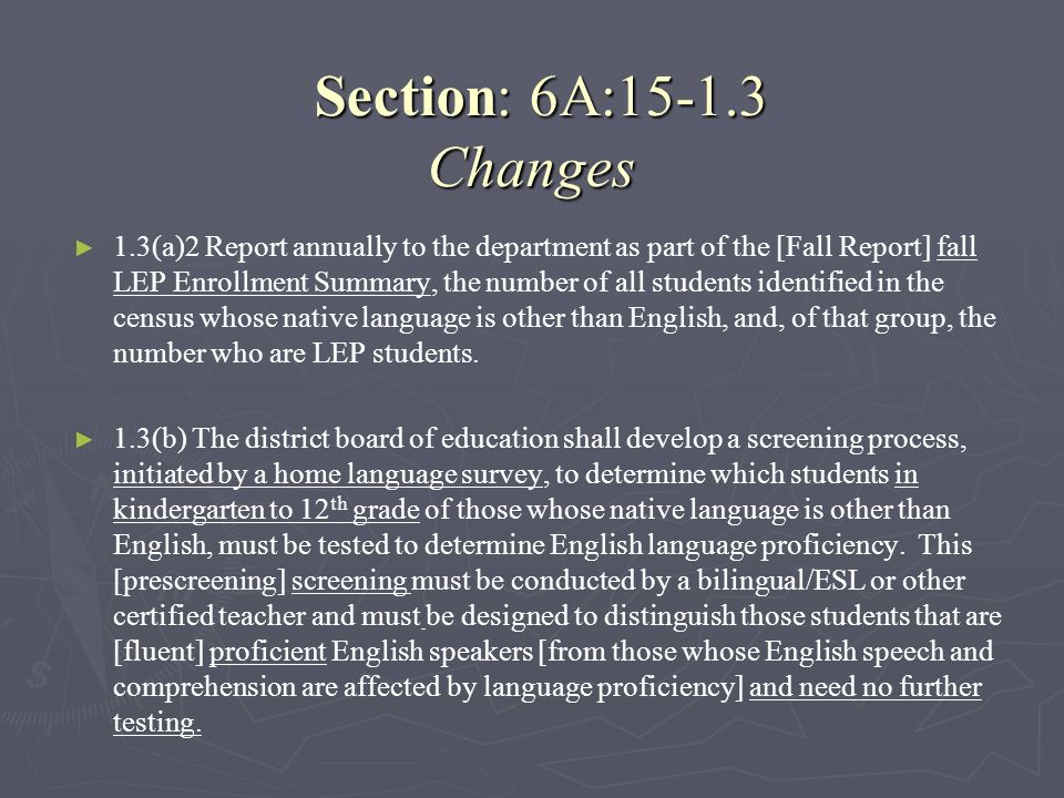 Section: 6A:15-1.3 Changes