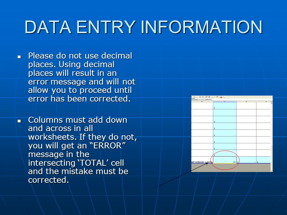 DATA ENTRY INFORMATION