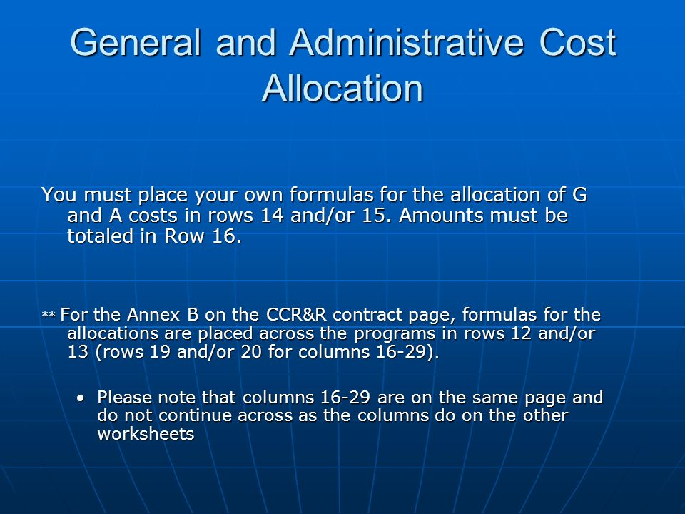 General and Administrative Cost Allocation