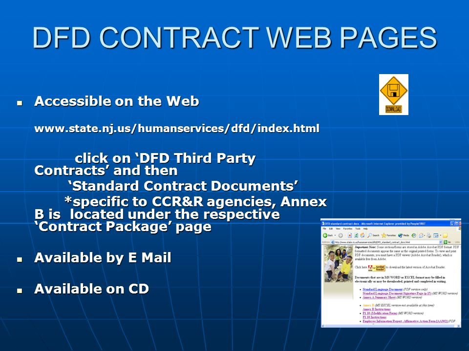 DFD CONTRACT WEB PAGES Accessible on the Web