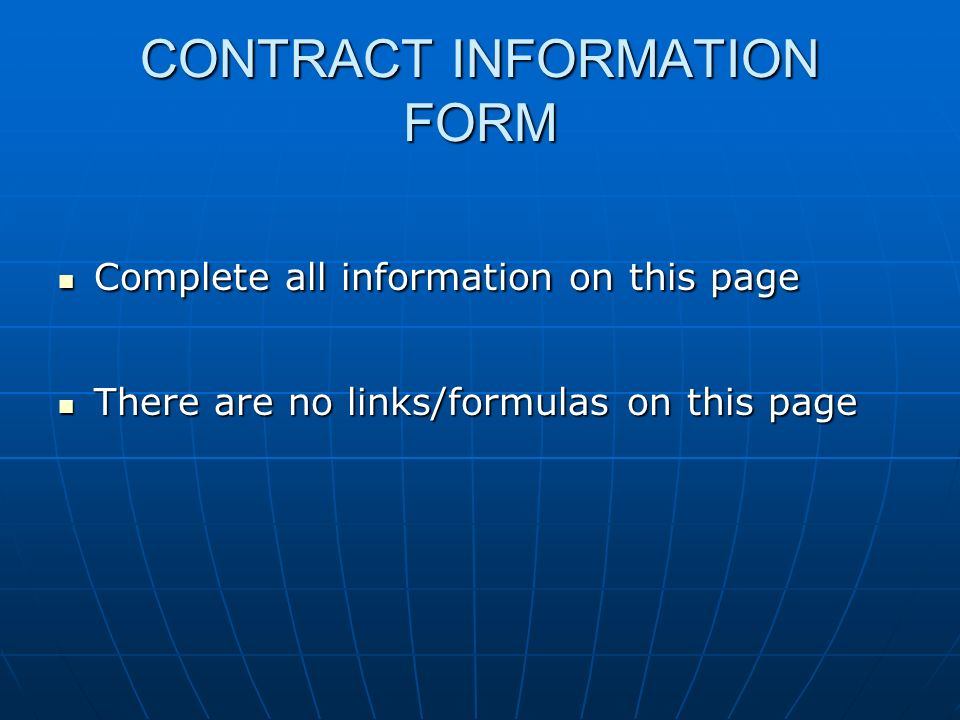 CONTRACT INFORMATION FORM