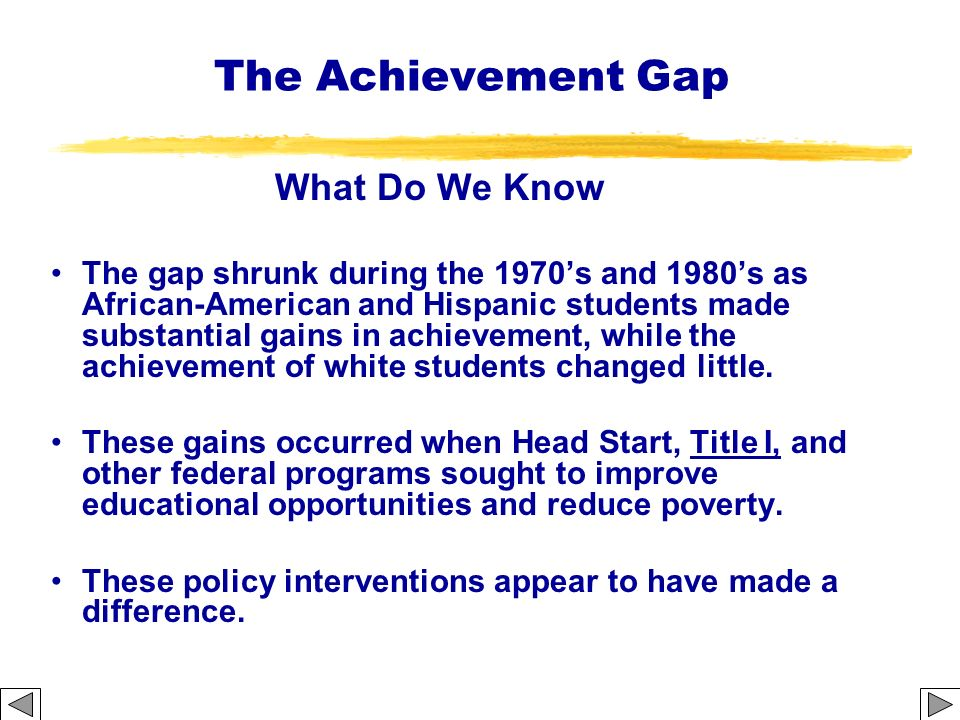 The Achievement Gap What Do We Know