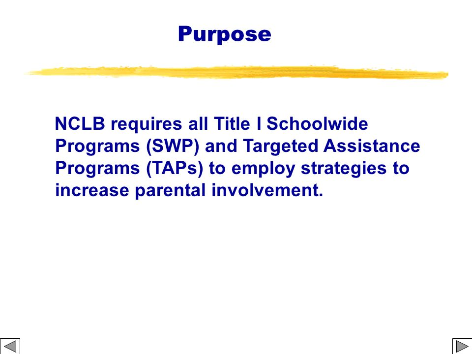 Purpose NCLB requires all Title I Schoolwide