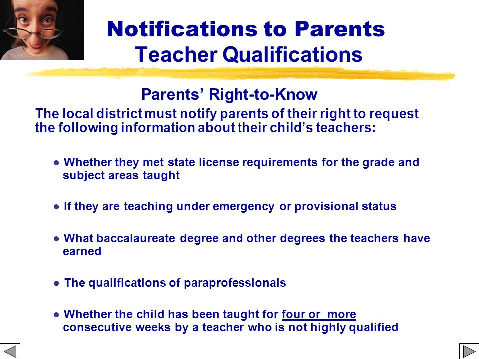 Notifications to Parents Teacher Qualifications