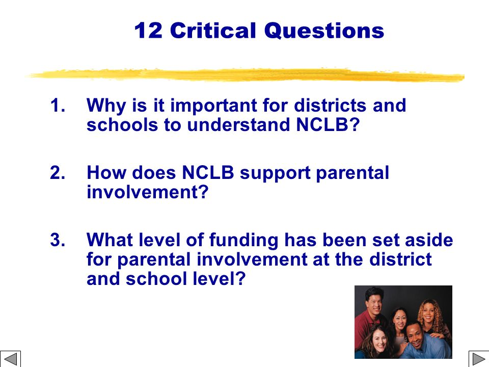 12 Critical Questions Why is it important for districts and schools to understand NCLB How does NCLB support parental involvement