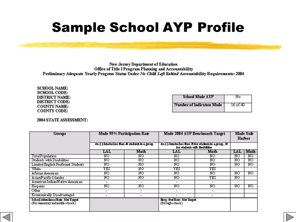 Sample School AYP Profile