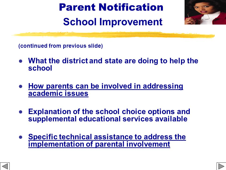 Parent Notification School Improvement