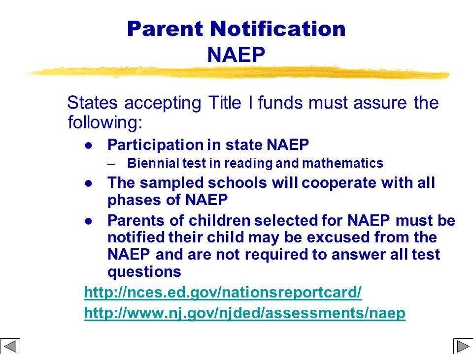 Parent Notification NAEP