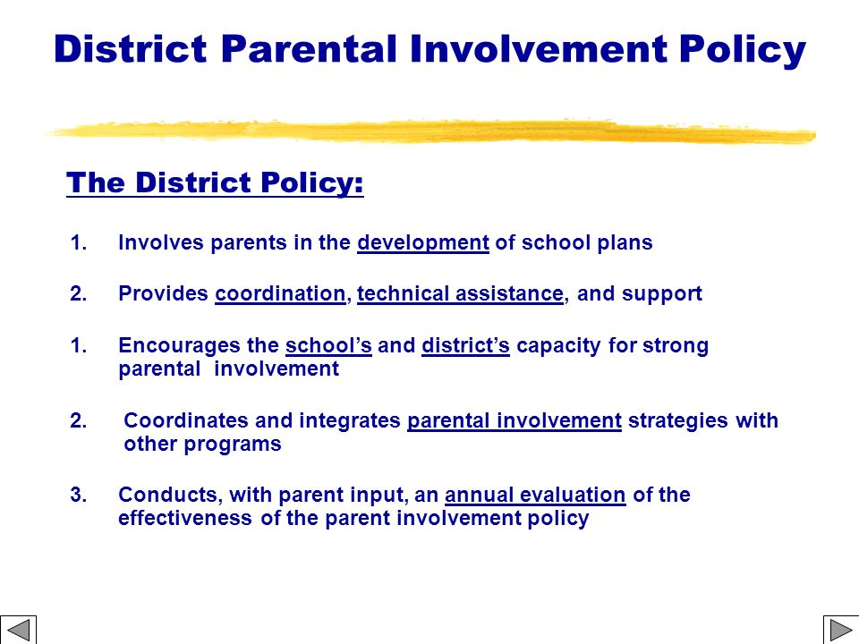 District Parental Involvement Policy