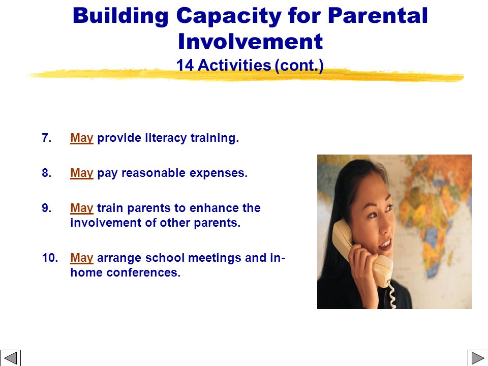 Building Capacity for Parental Involvement 14 Activities (cont.)