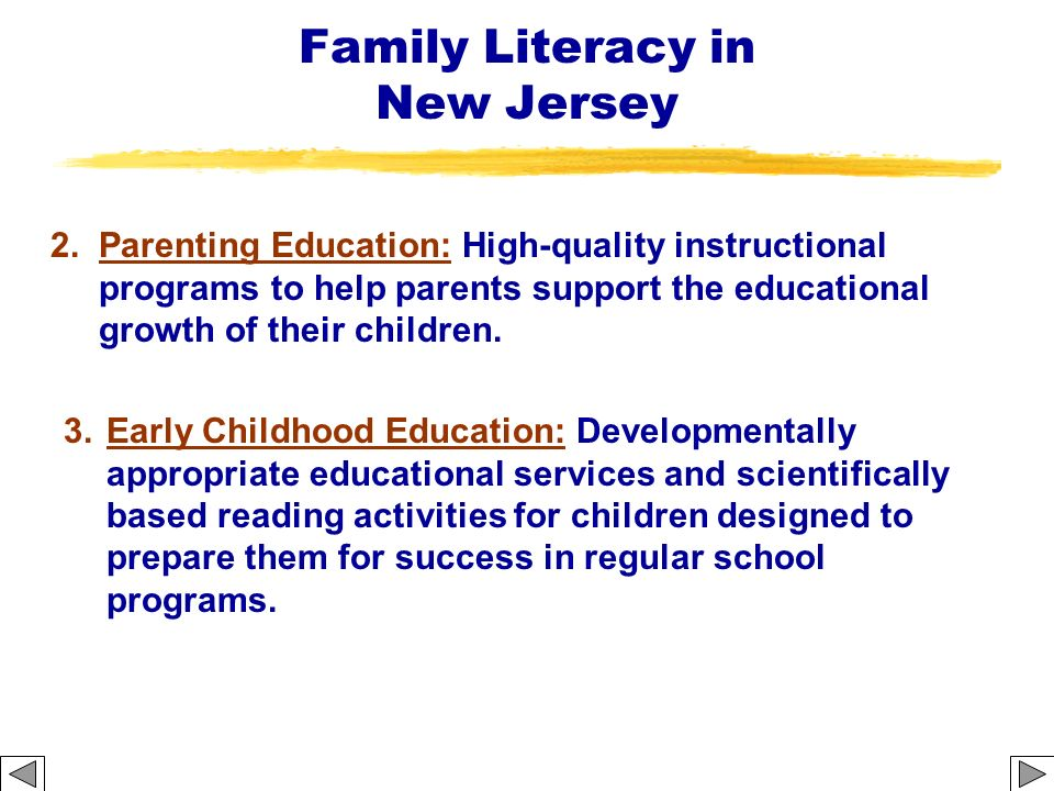Family Literacy in New Jersey