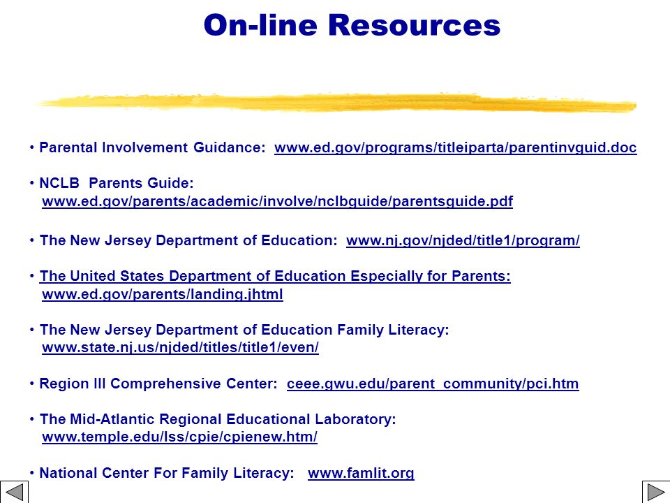 On-line Resources Parental Involvement Guidance: www.ed.gov/programs/titleiparta/parentinvguid.doc.