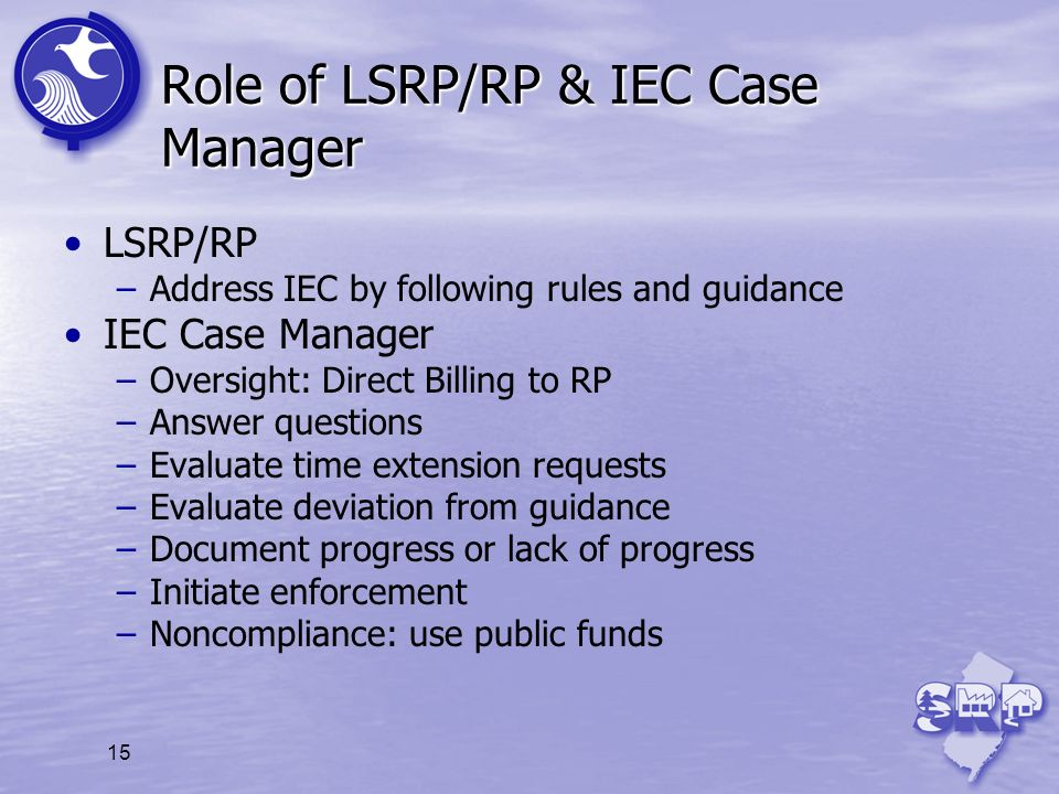 Role of LSRP/RP & IEC Case Manager