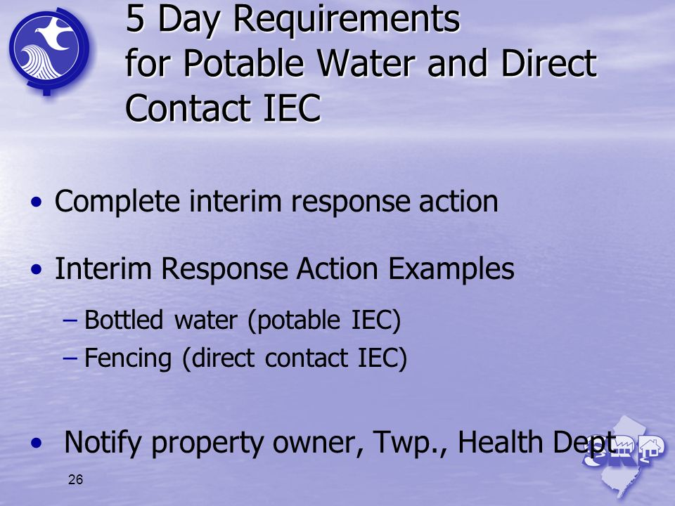 5 Day Requirements for Potable Water and Direct Contact IEC