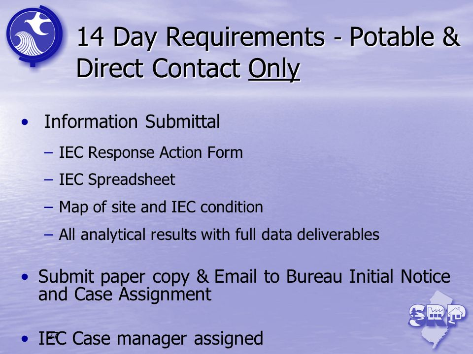 14 Day Requirements - Potable & Direct Contact Only
