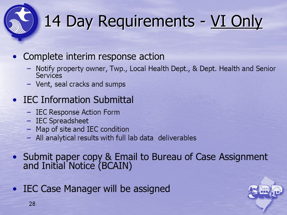 14 Day Requirements - VI Only