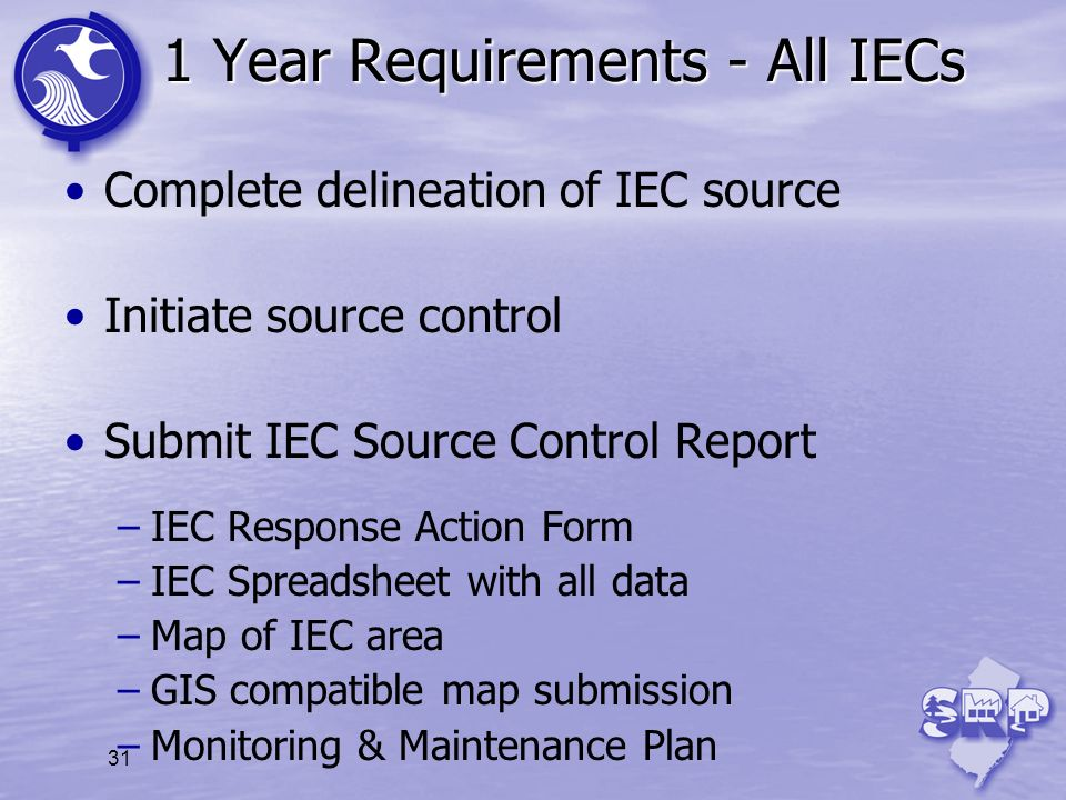 1 Year Requirements - All IECs