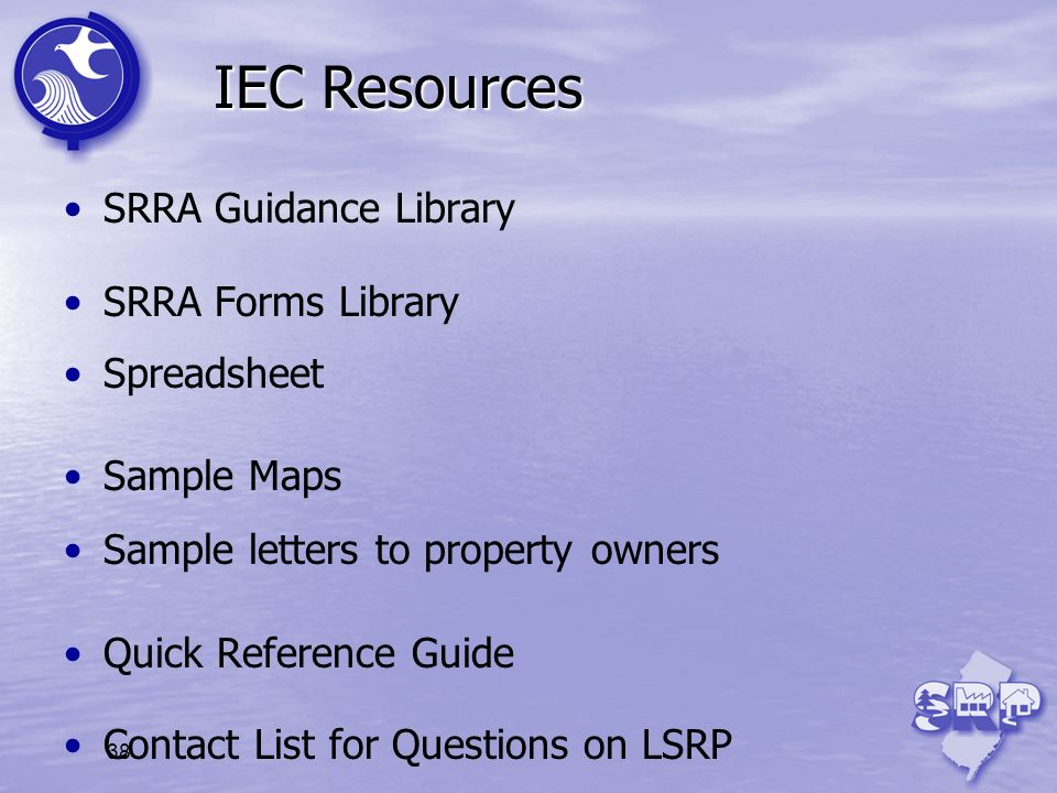 IEC Resources SRRA Guidance Library SRRA Forms Library Spreadsheet