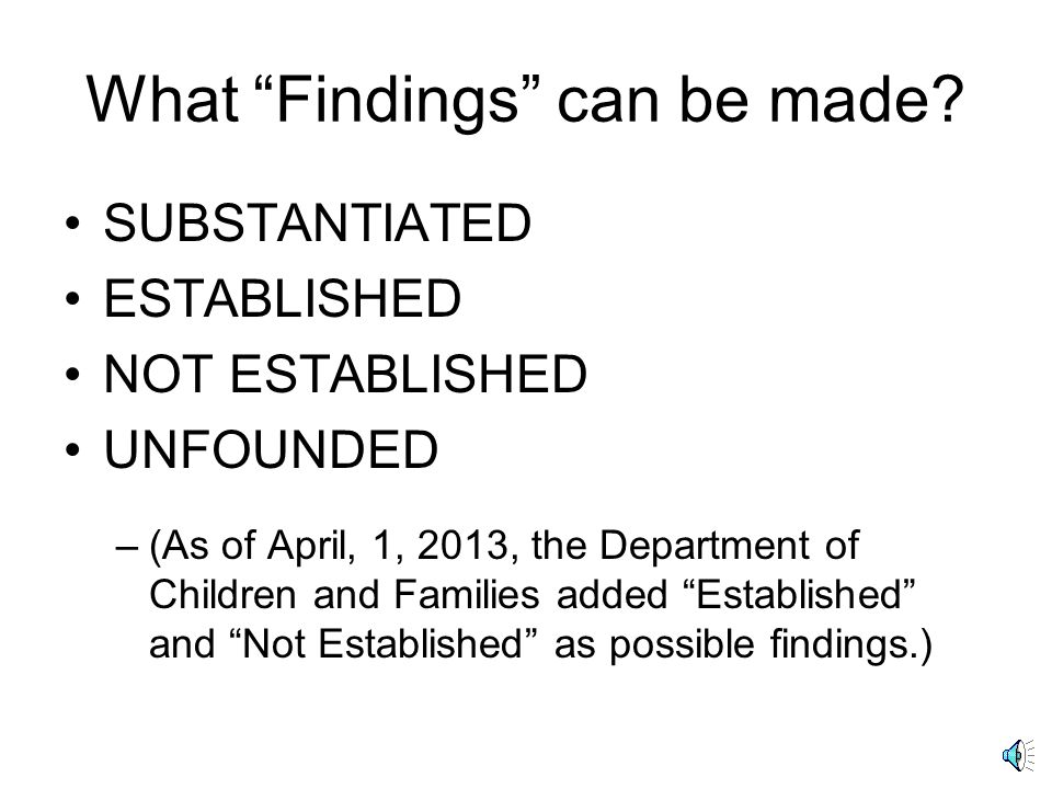 What Findings can be made