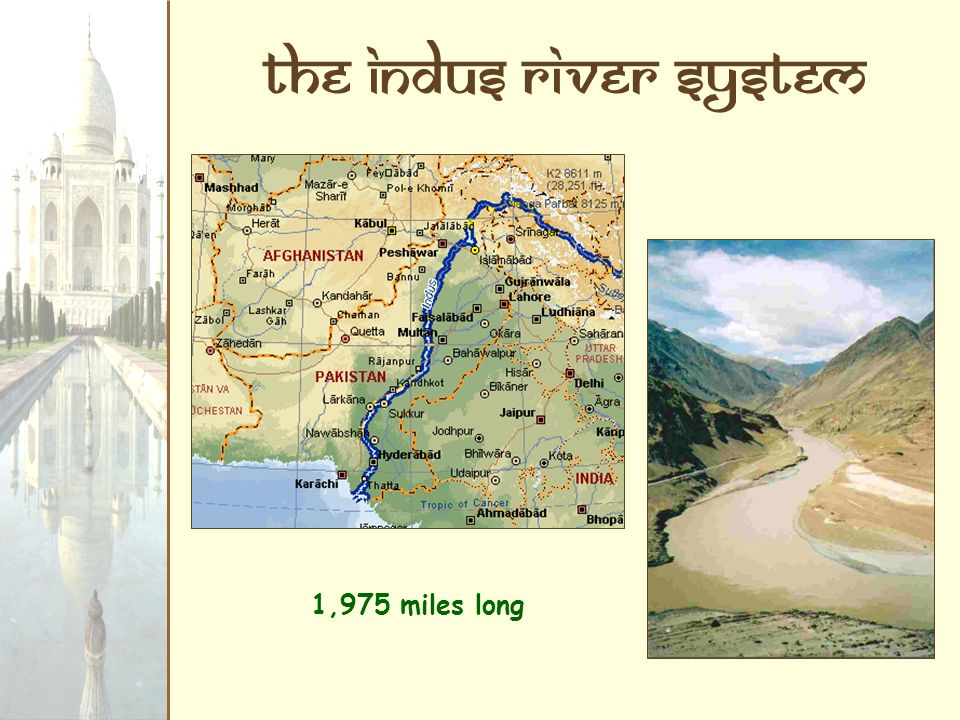 The Indus River System 1,975 miles long