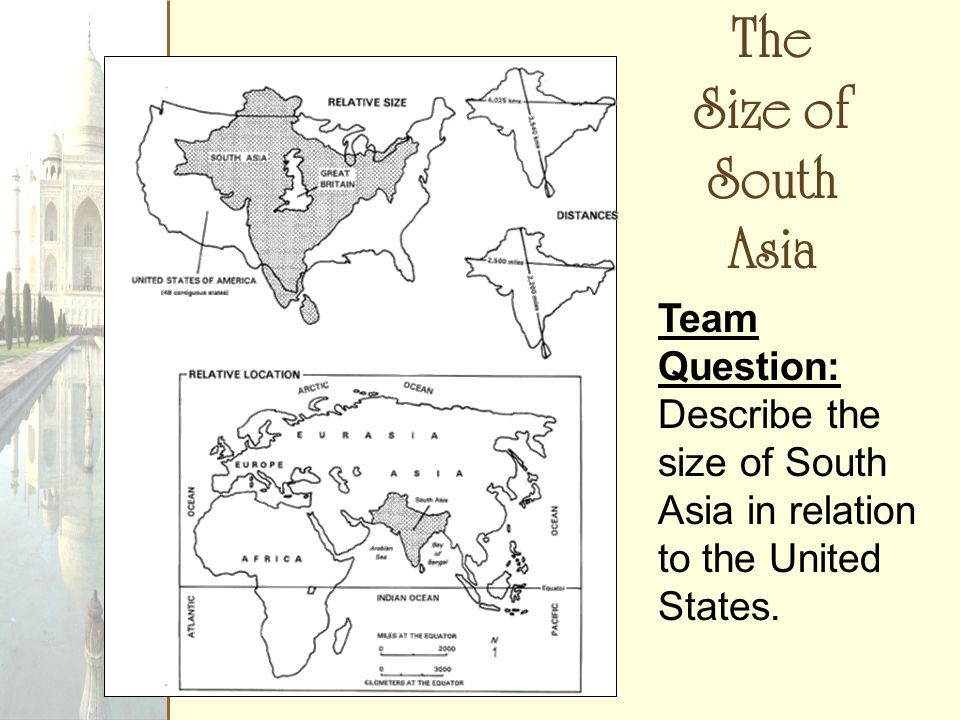 The Size of South Asia Team Question: