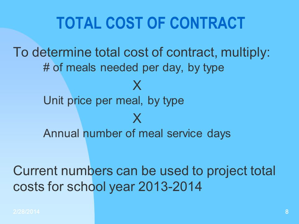 TOTAL COST OF CONTRACT To determine total cost of contract, multiply: