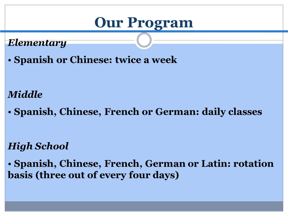Our Program Elementary Spanish or Chinese: twice a week Middle