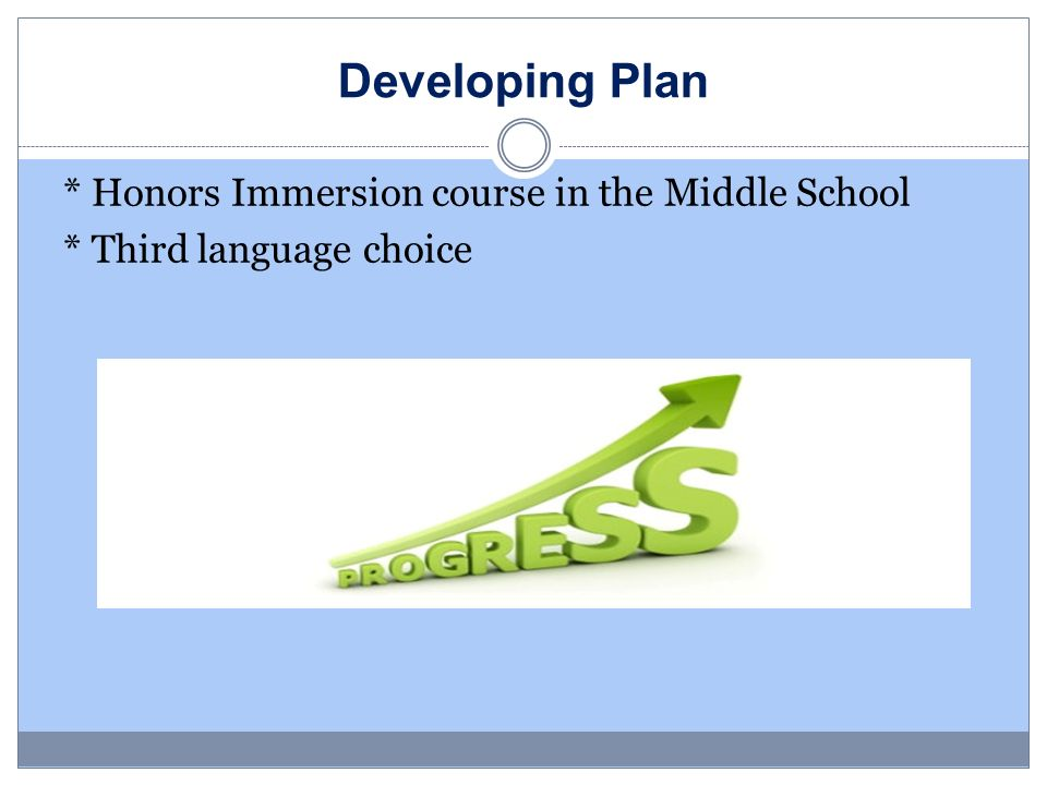 Developing Plan * Honors Immersion course in the Middle School * Third language choice