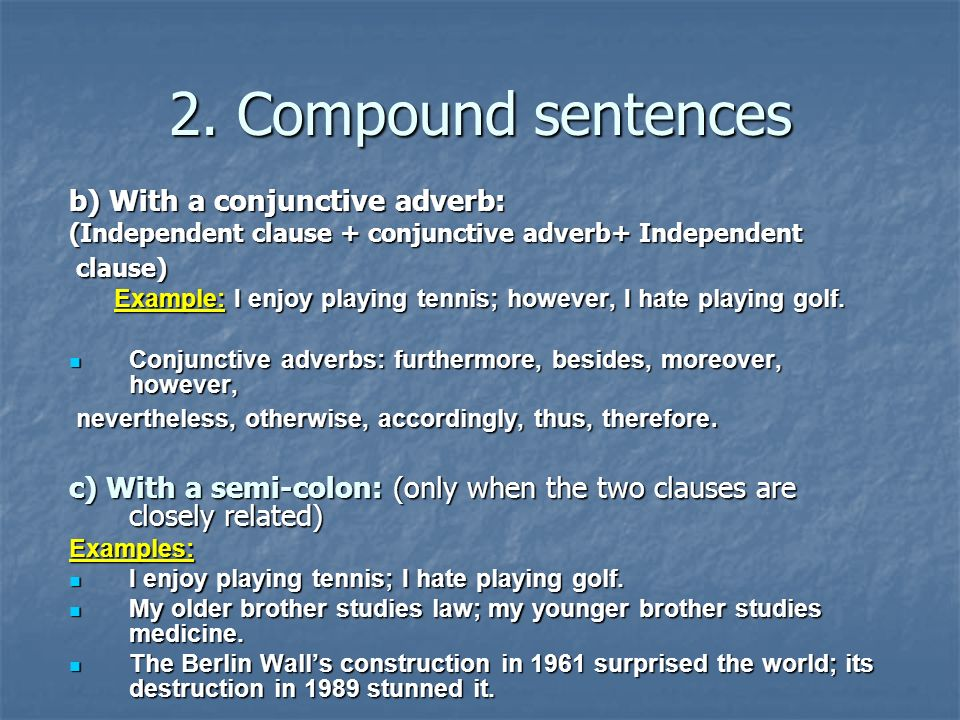 Conjunctive Adverbs Examples Sentences Image Collections Example