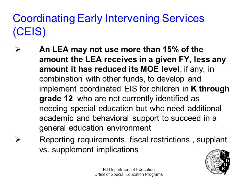 Coordinating Early Intervening Services (CEIS)