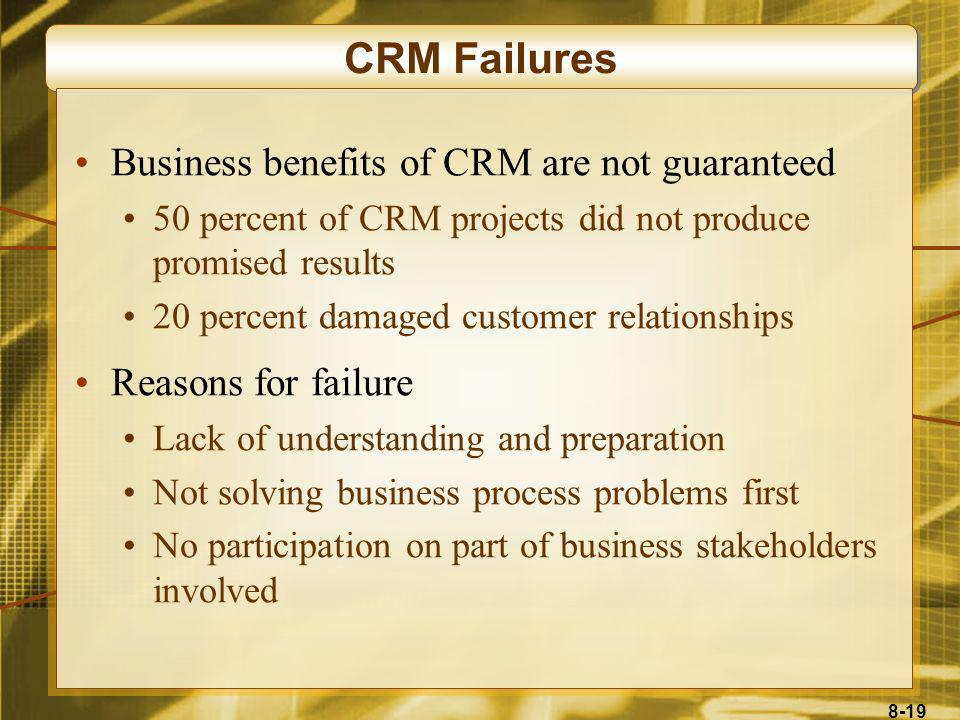 CRM Failures Business benefits of CRM are not guaranteed
