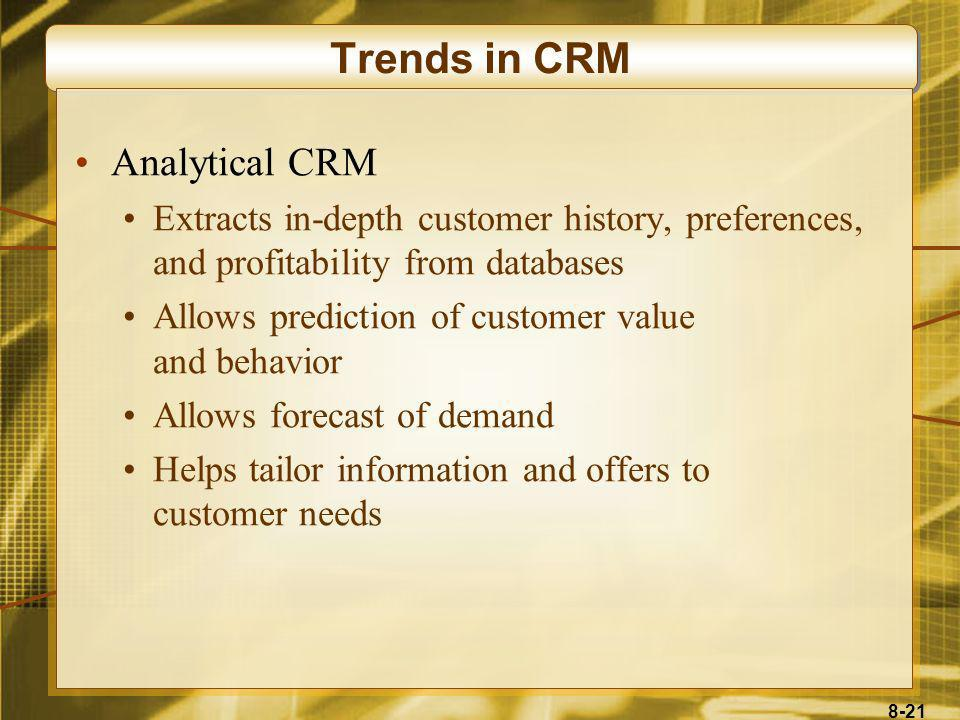 Trends in CRM Analytical CRM