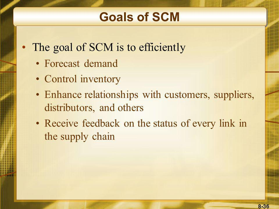 Goals of SCM The goal of SCM is to efficiently Forecast demand