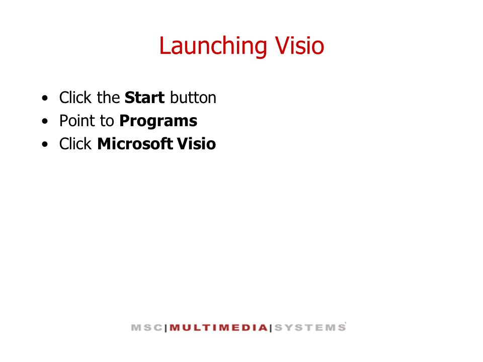 Launching Visio Click the Start button Point to Programs