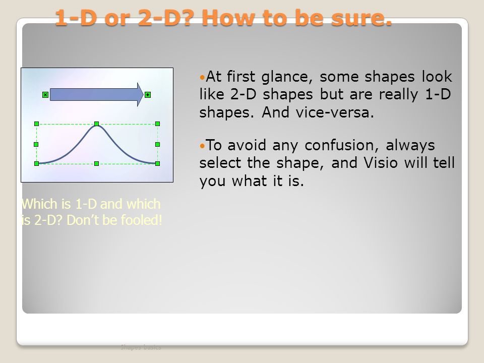 1-D or 2-D How to be sure. At first glance, some shapes look like 2-D shapes but are really 1-D shapes. And vice-versa.