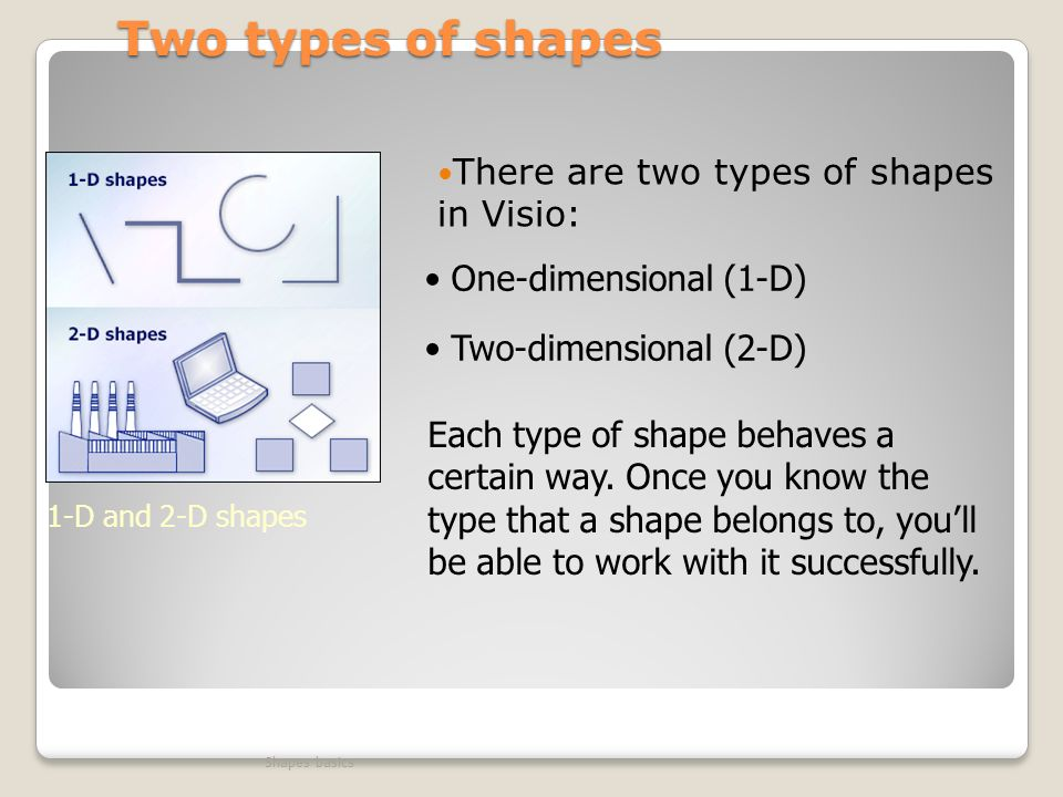 Two types of shapes There are two types of shapes in Visio: