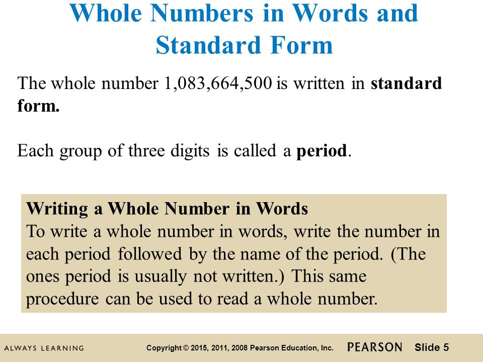 1 Chapter Chapter 2 The Whole Numbers Ppt Download