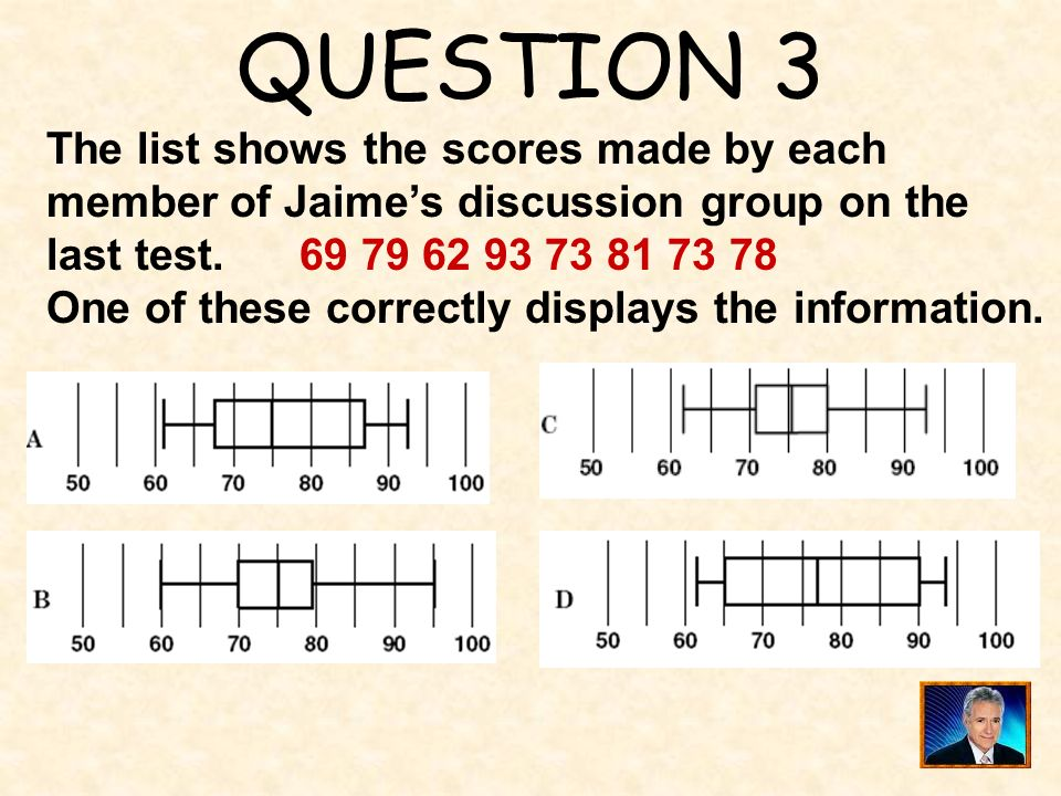 QUESTION 3 The list shows the scores made by each