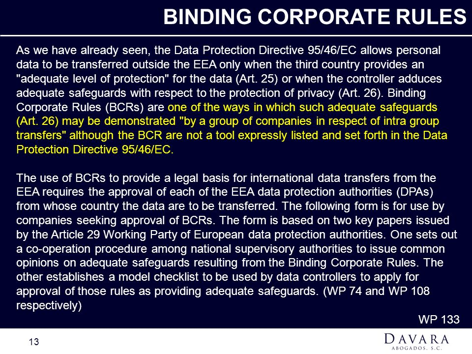BINDING CORPORATE RULES