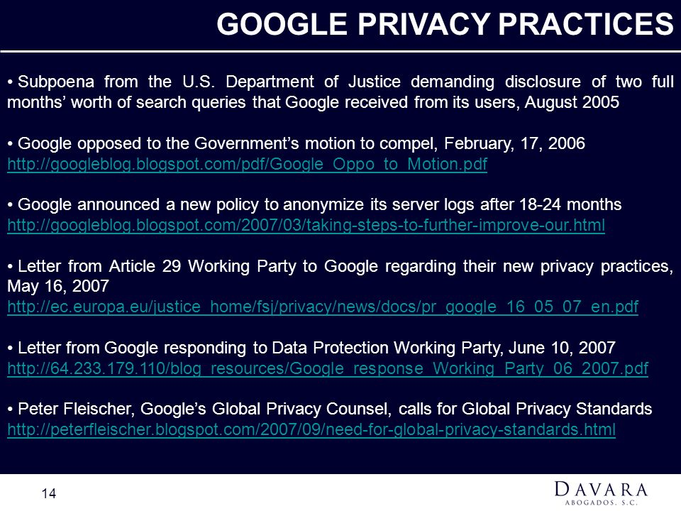 GOOGLE PRIVACY PRACTICES