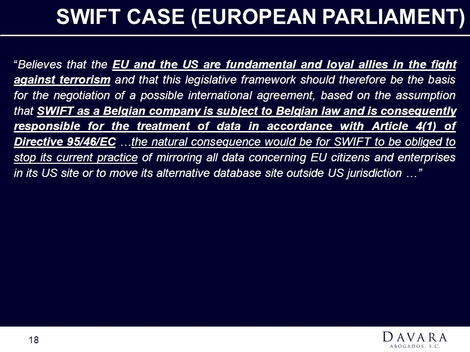 SWIFT CASE (EUROPEAN PARLIAMENT)
