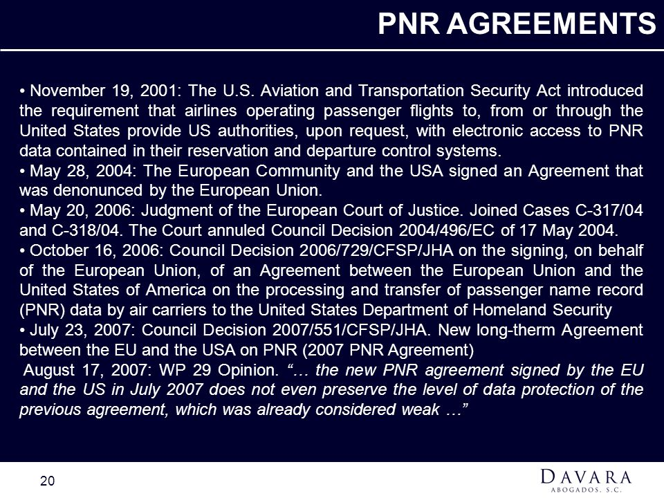 PNR AGREEMENTS