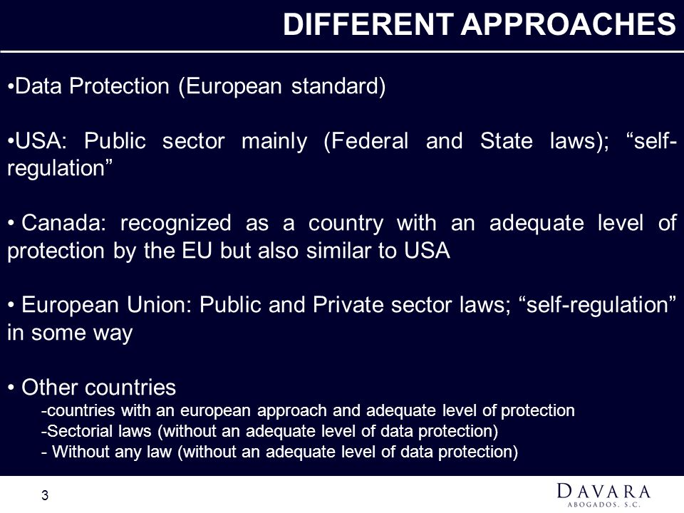 DIFFERENT APPROACHES Data Protection (European standard)