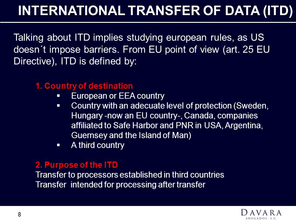 INTERNATIONAL TRANSFER OF DATA (ITD)