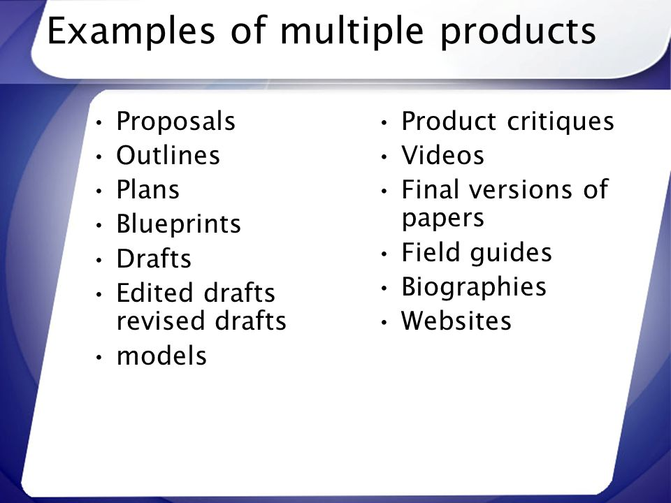 Examples of multiple products