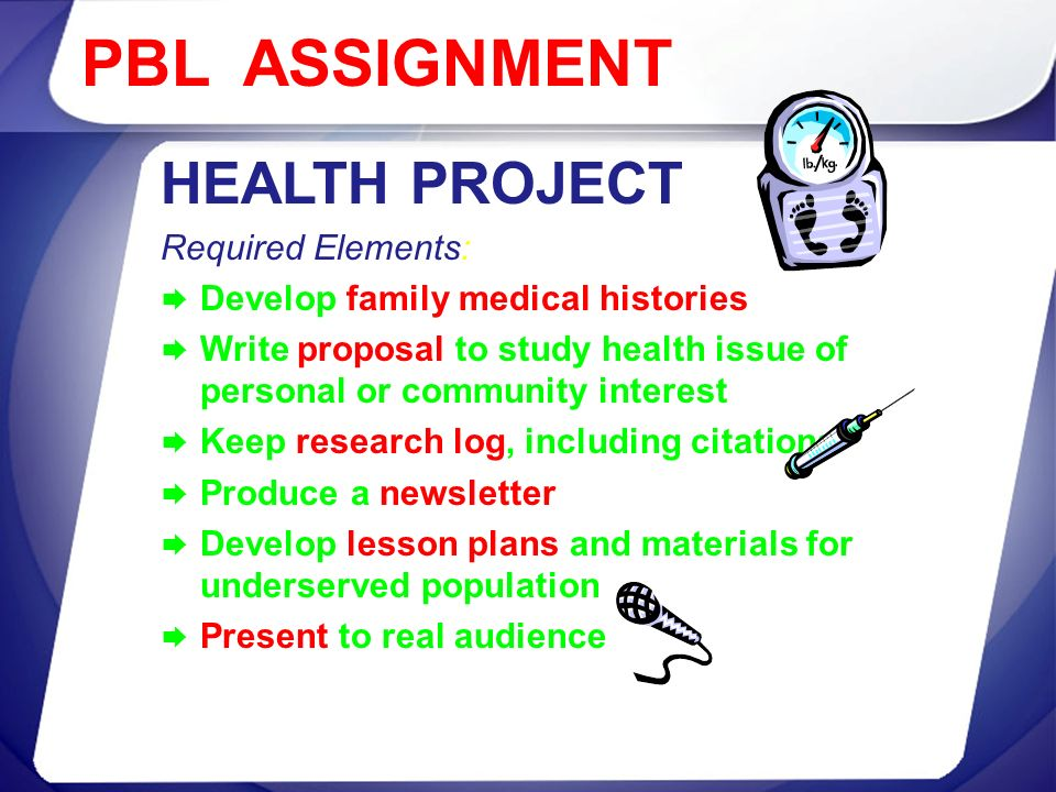 PBL ASSIGNMENT HEALTH PROJECT Required Elements: